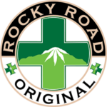 Rocky Road Original logo with green cross and mountain with marijuana shaped snowcap